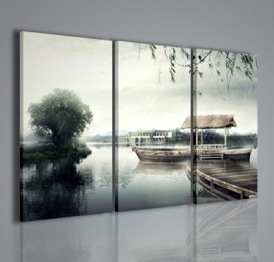 Quadri Moderni-Quadri Natura e Paesaggi-Rain in the lake