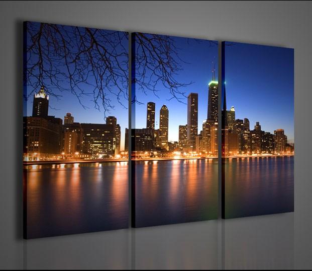 Quadri moderni quadri citt chicago by night artcanvas2011 for La citta con il museo van gogh