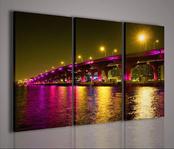Quadri Moderni-Quadri Città-Miami Neon Bridge   artcanvas2011