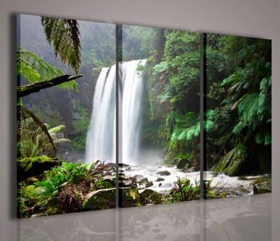 Quadri Moderni-Quadri Natura e Paesaggi-Waterfall in Forest